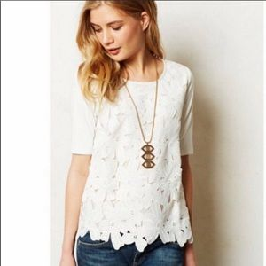 Anthro Sunday in Brooklyn floral lace SS top